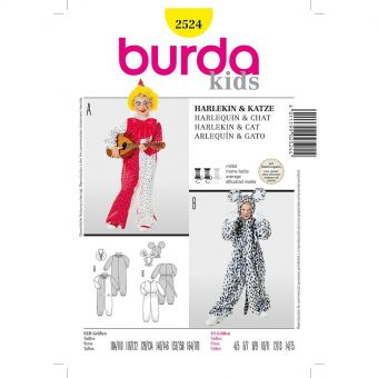 Patron Burda 2524 Carnaval Arlequin et Chat
