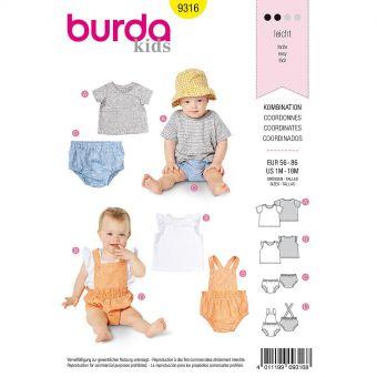 Patron Burda 9316 - Ensemble pour bébés de 1 à 18 mois