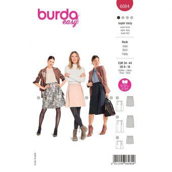 Patron Burda 6084- Jupe portefeuille à plis creux du 36 au 46