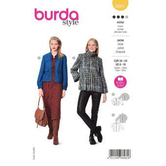 Patron Burda 6081 - Veste sportive avec fermeture à glissière et col droit du 36 au 46
