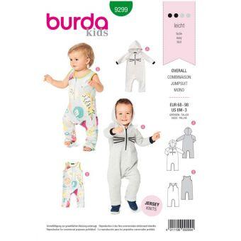 Patron Burda 9299 Combinaison bébé Onesie à capuche avec ou sans manche - de 6 à 36 mois