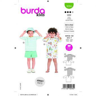 Patron Burda 9284 - Tee-shirt ou Robe ample enfant, fermeture polo en jersey du 92 au 122 cm