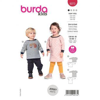 Patron Burda 9273- T-shirt et robe Bébé avec encolure ronde et poignets du 68 au 98