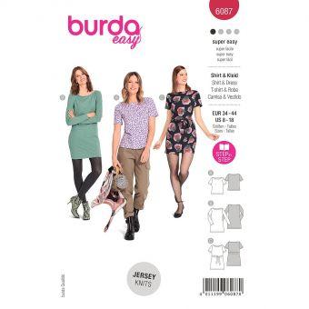 Patron Burda 6087- T-shirt, robe – près du corps avec encolure bateau du 36 au 46