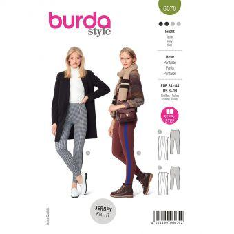 Patron Burda 6070 - Pantalon –jambes serrées avec nervure surpiquée du 36 au 46