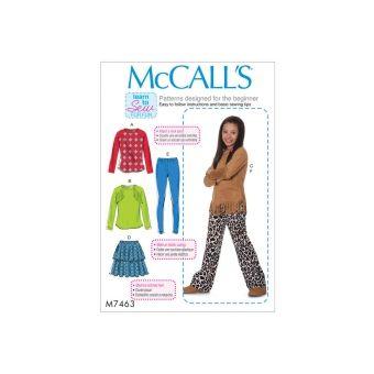 Patron Mc Call's 7463 - Ensemble Haut, Jupe, Pantalon et collant Fille de 10 à 16 ans