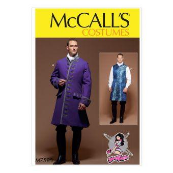 Patron McCall's 7585 manteau trois - quarts et gilet style XVIIIe - Homme