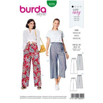 Patron Burda 6229 Pantalon femme et pantacourt à coulisse élastique jambes amples - du 32 au 42