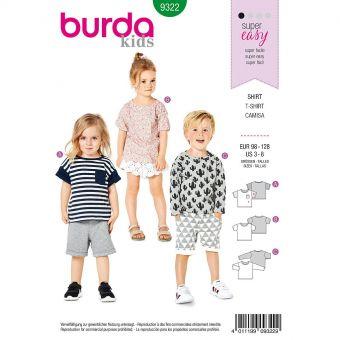 Patron Burda 9322 - Tee-Shirt pour garçons de 3 à 8 ans