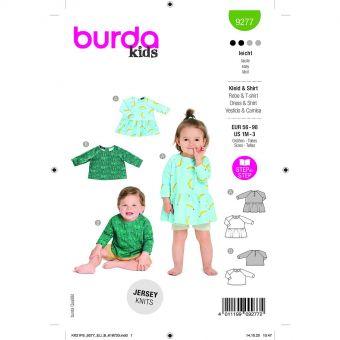 Patron Burda 9277 - Tee-Shirt raglan mixte ou Robe bébé du 56 au 98 cm