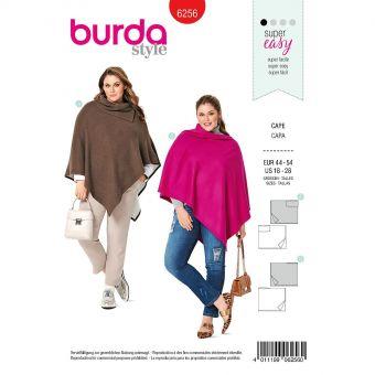 Patron Burda 6256 Cape rectangulaire pour femmes de 46 à 56