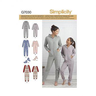 Patron Simplicity 8520 Combinaison et chaussons femme et fillette