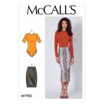Patron Mc Call's 7983 - hauts et jupes pour jeune femme tailles du 34 au 50