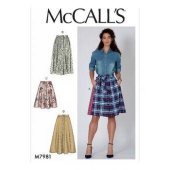 Patron Mc Call's 7981 - jupes pour jeune femme tailles du 34 au 52