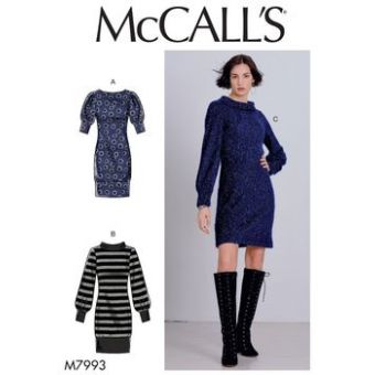 Patron Mc Call's 7993 - Robe pull, manches bouffantes du 32 au 54