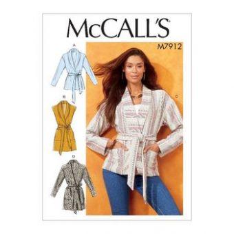 Patron Mc Call's 7912 - Veste Femme non doublée avec ceinture du 32 au 54