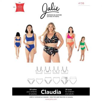 Patron Jalie 4136 CLAUDIA- Bikinis- Femme, Enfant fille
