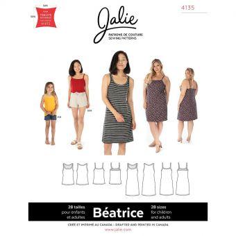 Patron Jalie 4135 BEATRICE- Débardeurs sans manche et robes fines bretelles- Femme, Enfant fille