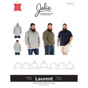 Patron Jalie 4131 LAURENT- T- shirt pull à col rond et capuche- Homme, Enfants Mixte