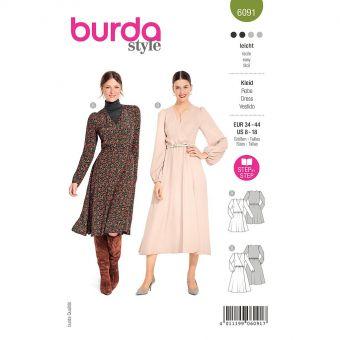 Patron Burda 6091 - Robe portefeuille avec coulisse élastiquée du 36 au 46