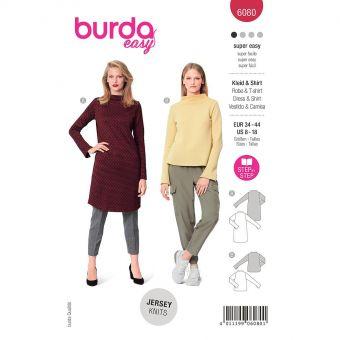 Patron Burda 6080 - Robe, Tee-Shirt avec col intégré au devant et au dos du 36 au 46