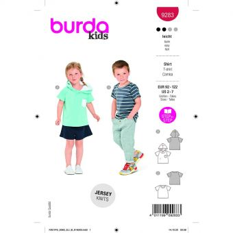 Patron Burda 9283 - Tee-shirt Hoody à capuche enfant du 92 au 122 cm