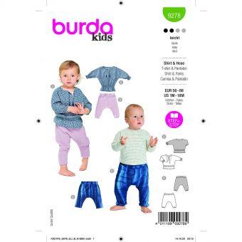 Patron Burda 9278 - Ensemble Pantalon et Tee-Shirt bébé du 56 au 86 cm