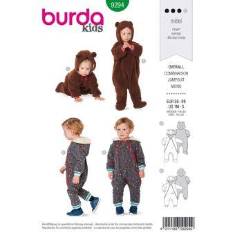 Patron Burda 9294 Combinaison bébé zippée capuche - du 56 au 98