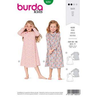 Patron Burda 9291 Robe manches raglan forme évasée - de 4 à 11 ans