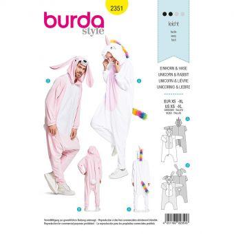 Patron Burda Carnaval 2351 Combinaison lapin et licorne